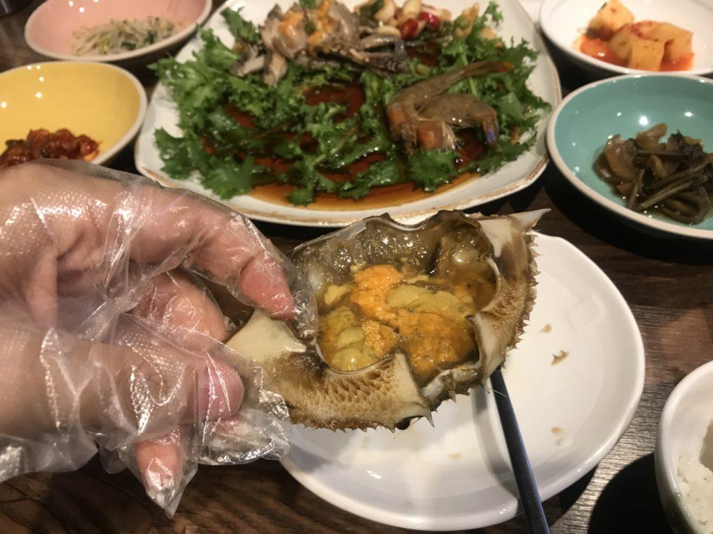 韓国 蟹 甲羅の食べ方